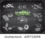 vector hand drawn superfood... | Shutterstock .eps vector #609723098