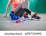 girls legs on sport shoes and... | Shutterstock . vector #609724490
