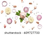 garlic  red onion  parsley and... | Shutterstock . vector #609727733