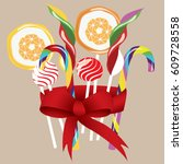 candy set of sweets of various... | Shutterstock .eps vector #609728558