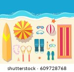 summer icon set. flat sand... | Shutterstock .eps vector #609728768