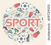 circular concept of sports... | Shutterstock .eps vector #609729353