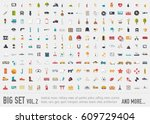 vol.2 flat big collection set... | Shutterstock .eps vector #609729404