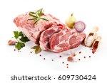fresh raw pork isolated on... | Shutterstock . vector #609730424