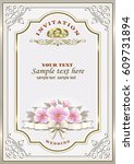 wedding invitation with flowers ... | Shutterstock .eps vector #609731894