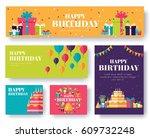 gifts vector banners set | Shutterstock .eps vector #609732248