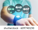 view of a running interface on... | Shutterstock . vector #609740150