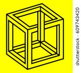 geometry. optical illusion cube | Shutterstock .eps vector #609743420