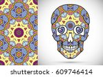 day of the dead colorful sugar... | Shutterstock .eps vector #609746414