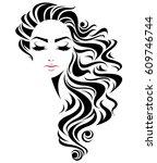 illustration of women long hair ... | Shutterstock .eps vector #609746744