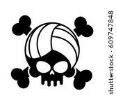 skull volleyball. ball is head... | Shutterstock .eps vector #609747848