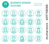 people line icons  business... | Shutterstock .eps vector #609748088
