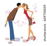 love couple date. young fashion ... | Shutterstock .eps vector #609750059