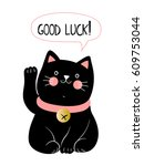 kawaii black cat with lettering ... | Shutterstock .eps vector #609753044