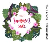 summer tropical sale design... | Shutterstock .eps vector #609754748