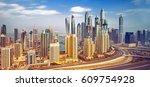 view on amazing dubai marina... | Shutterstock . vector #609754928