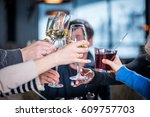 merry company celebrates... | Shutterstock . vector #609757703