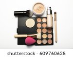 flat lay of contouring palette... | Shutterstock . vector #609760628