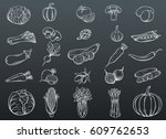 vector hand drawn vegetables... | Shutterstock .eps vector #609762653