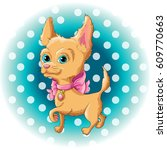 illustration of a cute dog... | Shutterstock .eps vector #609770663
