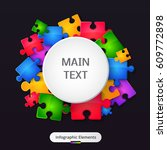 banner with bright puzzle and... | Shutterstock .eps vector #609772898