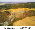aerial view of gravel pit mine. ... | Shutterstock . vector #609773399