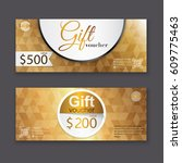 gift voucher template with gold ... | Shutterstock .eps vector #609775463