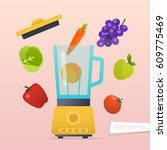 make a smoothie. different... | Shutterstock .eps vector #609775469