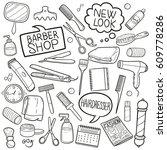 hair dress salon barber shop... | Shutterstock .eps vector #609778286
