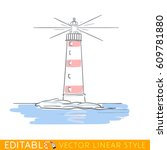 drawing lighthouse editable... | Shutterstock .eps vector #609781880