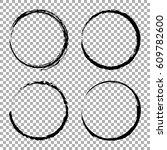vector set of grunge circle... | Shutterstock .eps vector #609782600