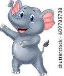 cute elephant cartoon presenting | Shutterstock .eps vector #609785738