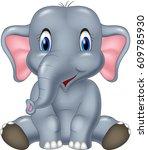 cute elephant cartoon sitting   Shutterstock .eps vector #609785930