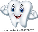 cartoon strong tooth character   Shutterstock .eps vector #609788870