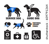 service dogs and emotional... | Shutterstock .eps vector #609791264