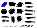 set of black paint  ink brush... | Shutterstock .eps vector #609794738