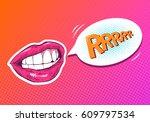 pop art woman lips. sexy mouth. ... | Shutterstock .eps vector #609797534