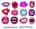 pop art woman lips set. sexy... | Shutterstock .eps vector #609797543