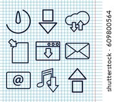 set of 9 download outline icons ... | Shutterstock .eps vector #609800564