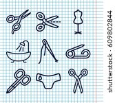 set of 9 tailor outline icons...   Shutterstock .eps vector #609802844
