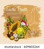 exotic fruits poster. vector... | Shutterstock .eps vector #609803264