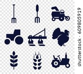 agricultural icons set. set of... | Shutterstock .eps vector #609805919