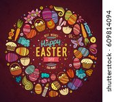 colorful vector hand drawn set... | Shutterstock .eps vector #609814094
