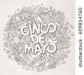 cinco de mayo. cartoon vector... | Shutterstock .eps vector #609814760