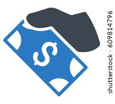cash payment hand glyph... | Shutterstock . vector #609814796