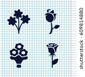 set of 4 bouquet filled icons... | Shutterstock .eps vector #609814880