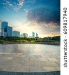empty brick road nearby office... | Shutterstock . vector #609817940