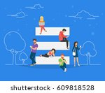 hamburger menu and on mobile... | Shutterstock .eps vector #609818528