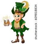 leprechaun in green suit and... | Shutterstock .eps vector #609818834