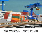 port cargo crane and container  ... | Shutterstock . vector #609819338